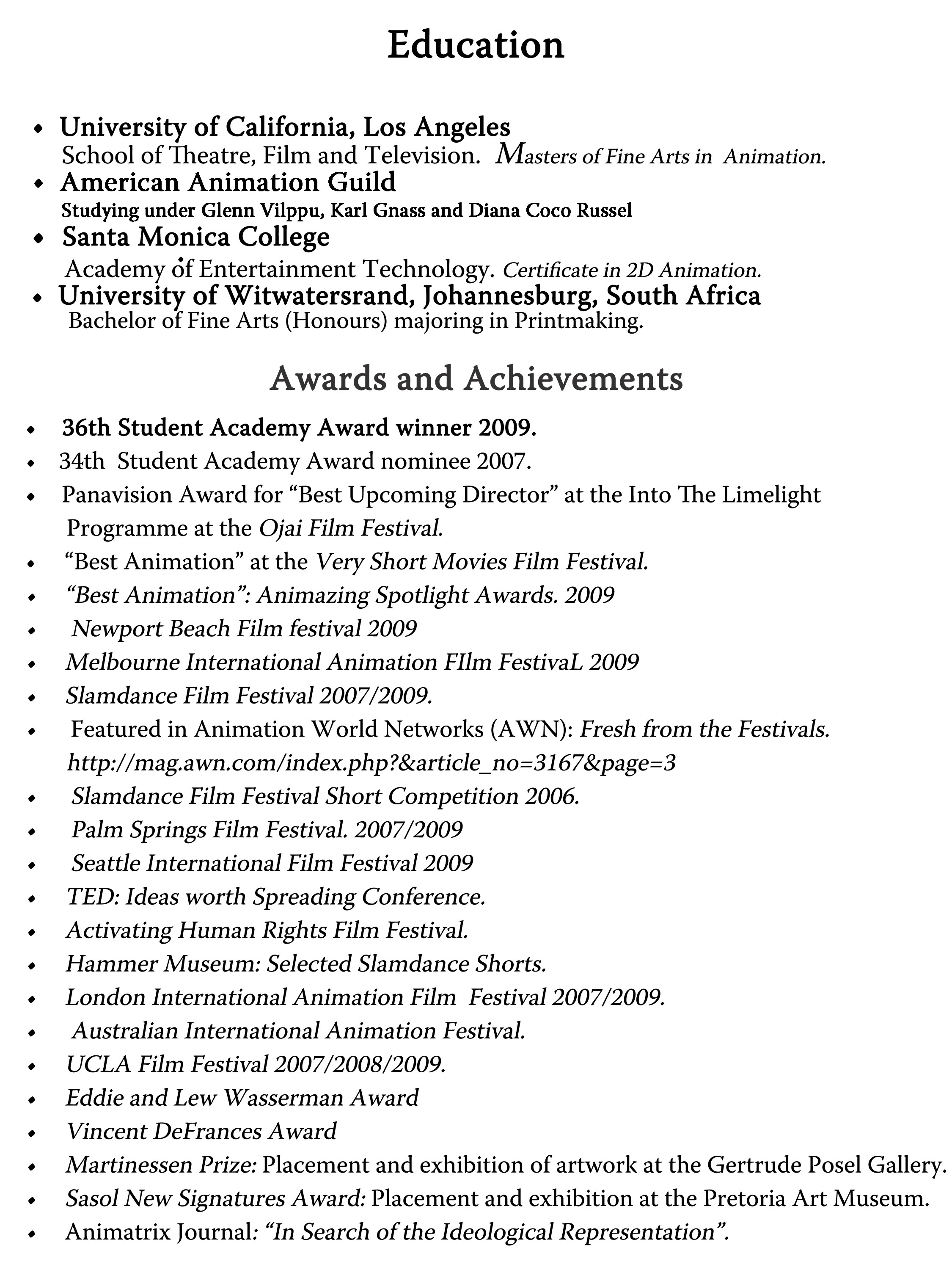 education awards achievements - Awards On Resume